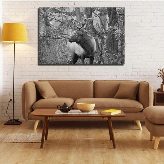 Black And White Elk Canvas Wall Art Living Room