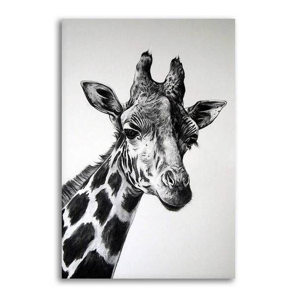 Black And White Giraffe Canvas Wall Art | Animal Prints — canvasx.net