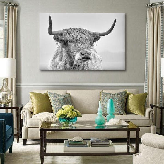 Black And White Highland Cow Canvas Wall Art Decor