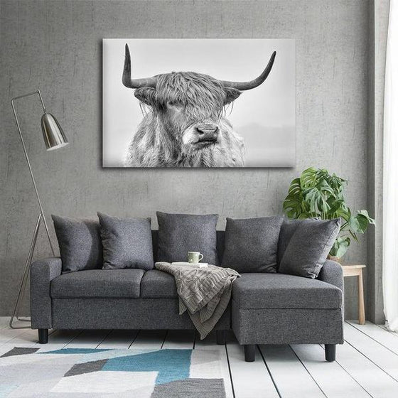 Black And White Highland Cow Canvas Wall Art Living Room