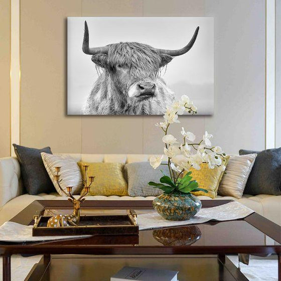 Black And White Highland Cow Canvas Wall Art Print