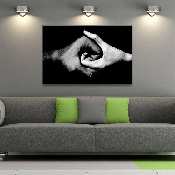 Black & White Holding Hands Canvas Wall Art Decor
