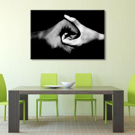 Black & White Holding Hands Canvas Wall Art Dining Room