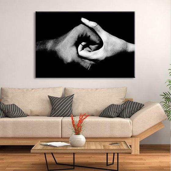 Black & White Holding Hands Canvas Wall Art Living Room