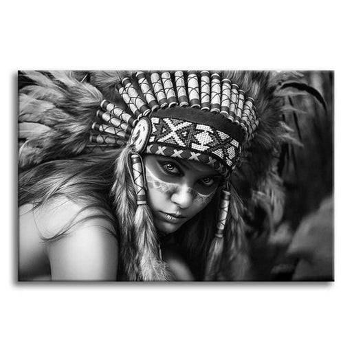 Black And White Indian Woman Wall Art