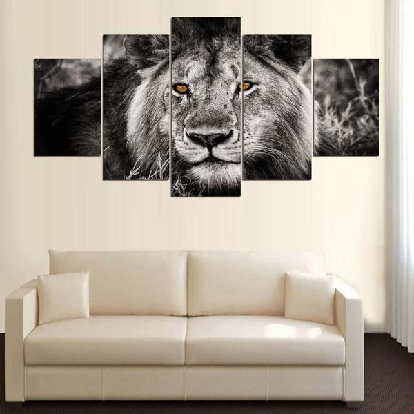 Black And White Lion Wall Art Decor
