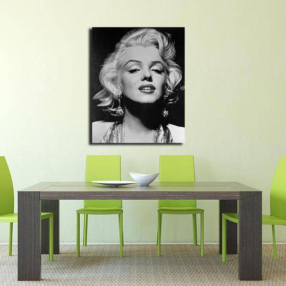 Black And White Marilyn Monroe Portrait Wall Art Dining Room