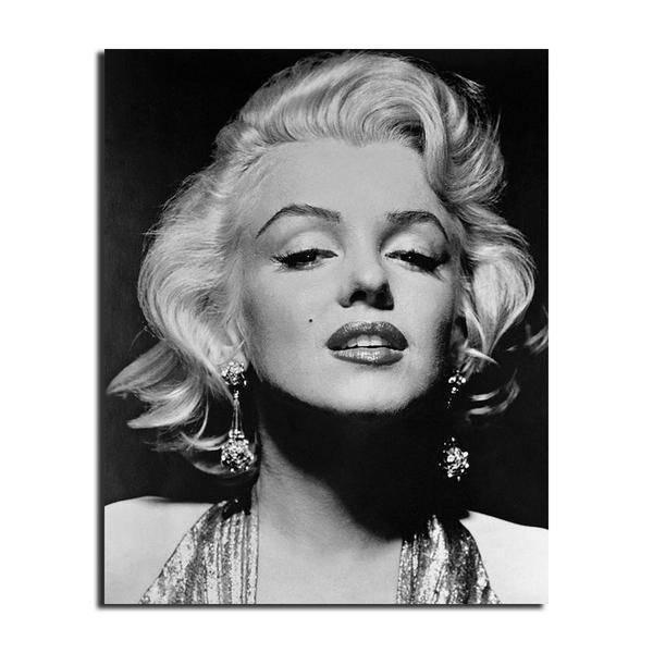 Famous Black And White Marilyn Monroe Portrait Canvas Wall Art