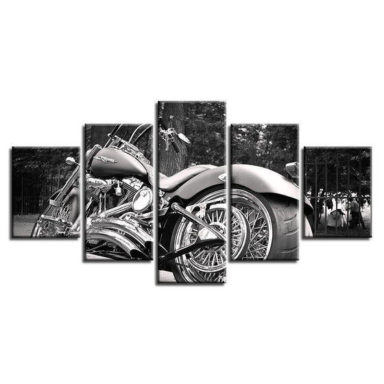Black And White Motorcycle Canvas Wall Art Prints