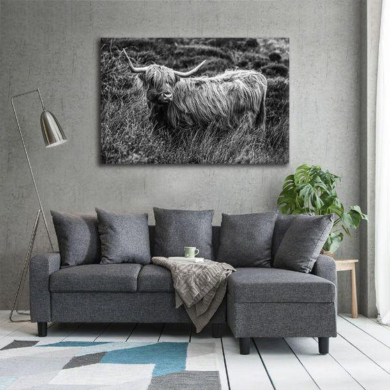 Black And White Upland Cattle Canvas Wall Art Decors