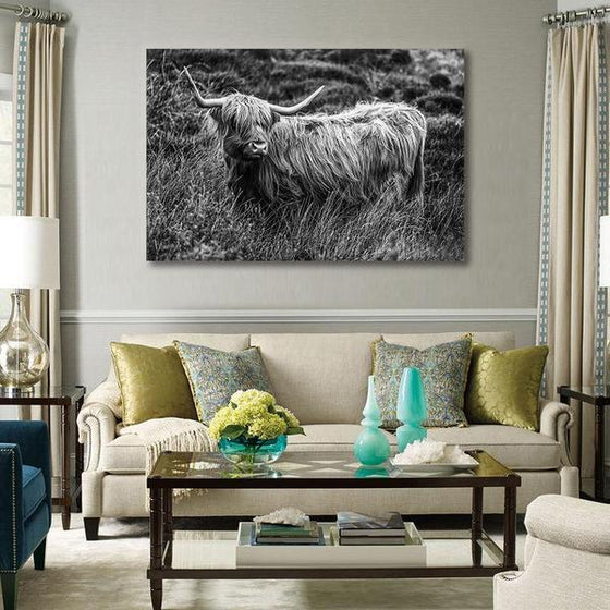 Black And White Upland Cattle Canvas Wall Art Living Room