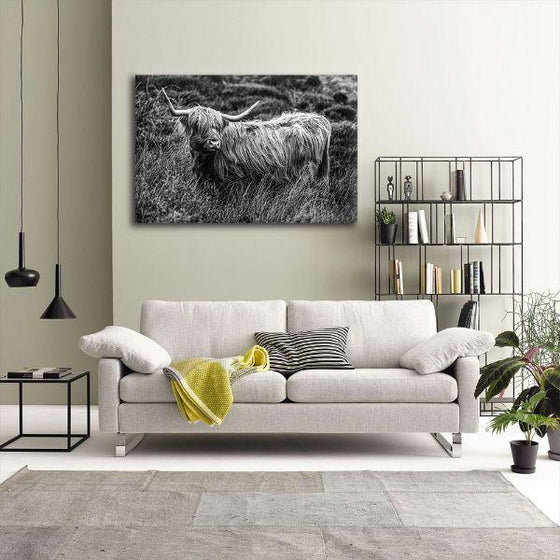 Black And White Upland Cattle Canvas Wall Art Print