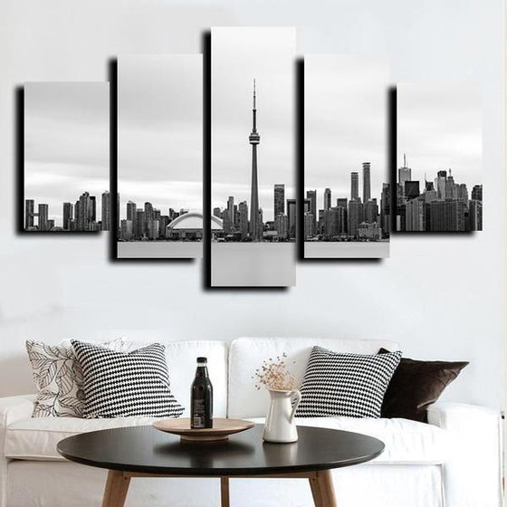 Black & White Toronto Canada Canvas Wall Art Living Room Decor