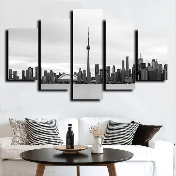 Black And White Wall Art Cityscape Canvas