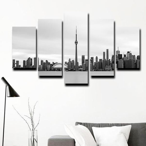 Black & White Toronto Canada Canvas Wall Art Prints