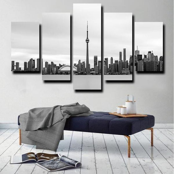 Black & White Toronto Canada Canvas Wall Art Office Decor