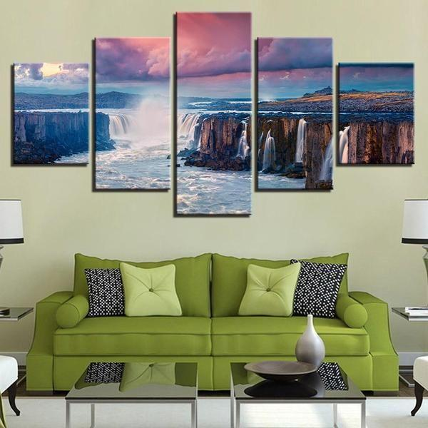 Black And White Waterfall Wall Art Canvases