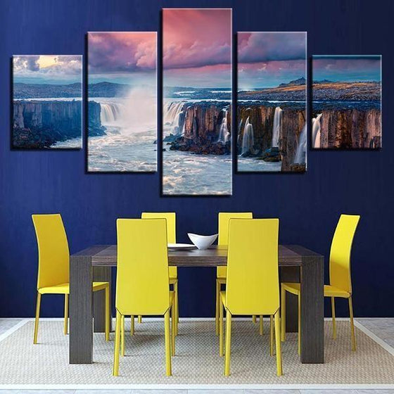 Alluring Waterfalls View Canvas Wall Art Dining Room