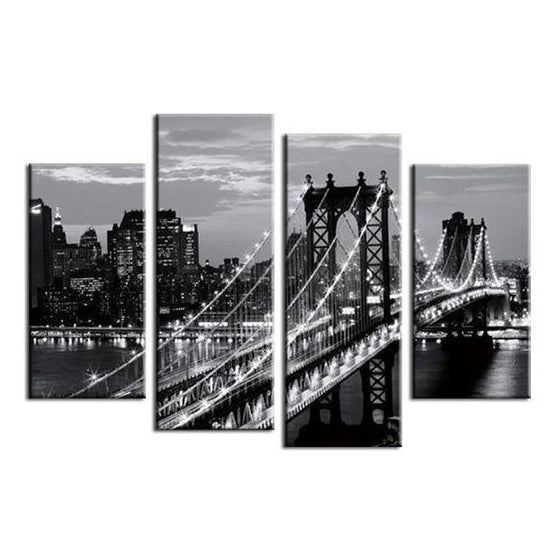 Black & White Brooklyn Bridge Canvas Wall Art