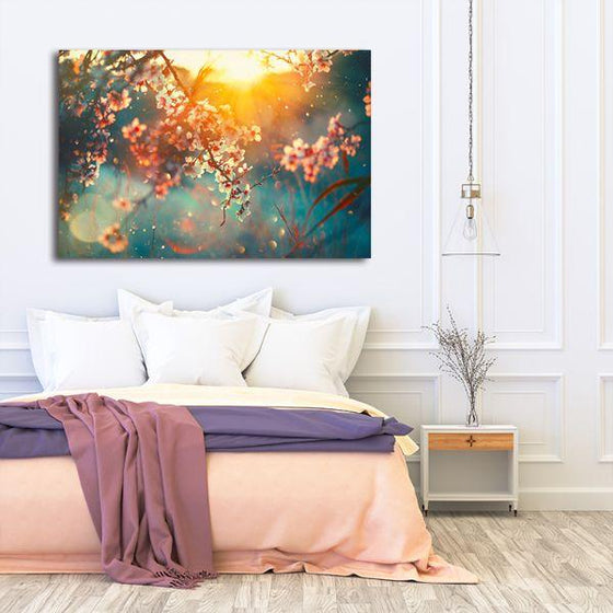 Blooming Tree & Sunflare Canvas Wall Art Bedroom