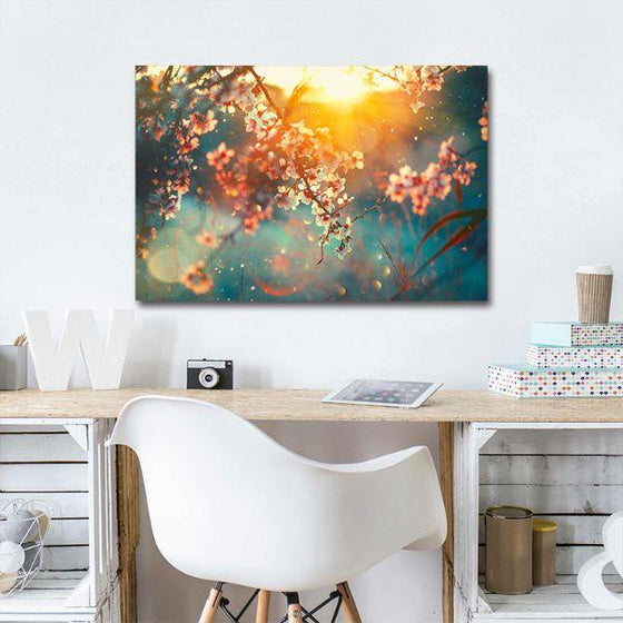 Blooming Tree & Sunflare Canvas Wall Art Decor