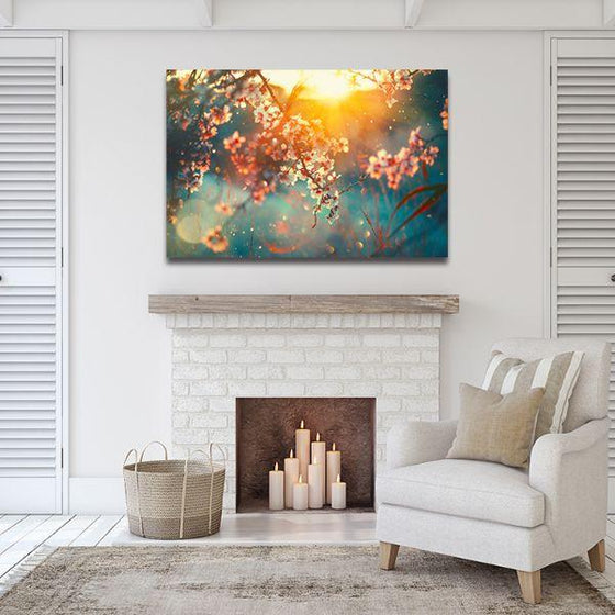 Blooming Tree & Sunflare Canvas Wall Art Print