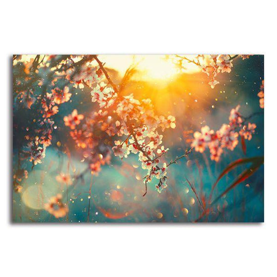 Blooming Tree & Sunflare Canvas Wall Art