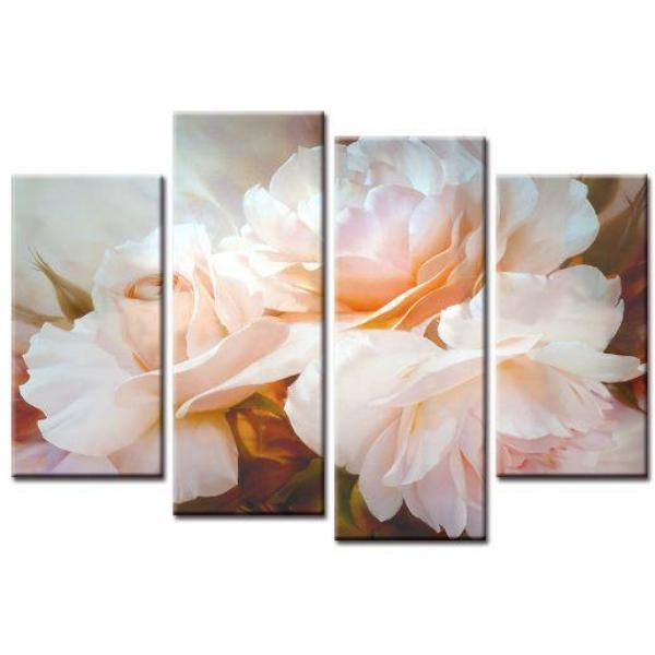 Blossomed Pink Rose Canvas Wall Art | Floral-Themed Canvas Print ...
