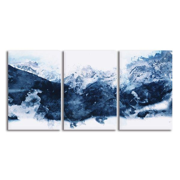 Blue Mountains 3 Panels Abstract Canvas Art
