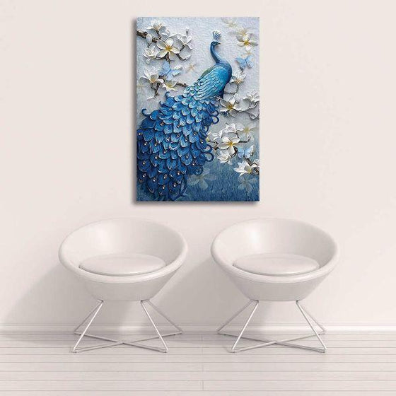 Blue Peacock In A Tree Canvas Wall Art Decor