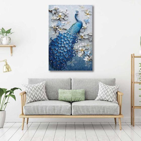 Blue Peacock In A Tree Canvas Wall Art Living Room
