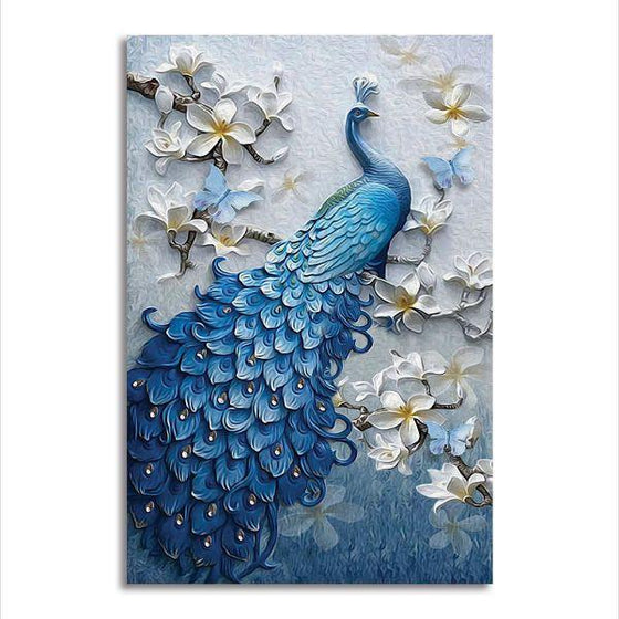 Blue Peacock In A Tree Canvas Wall Art