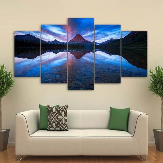 Blue Mountain Reflection Canvas Wall Art Living Room