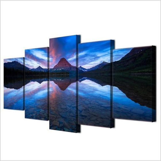 Blue Mountain Reflection Canvas Wall Art Prints