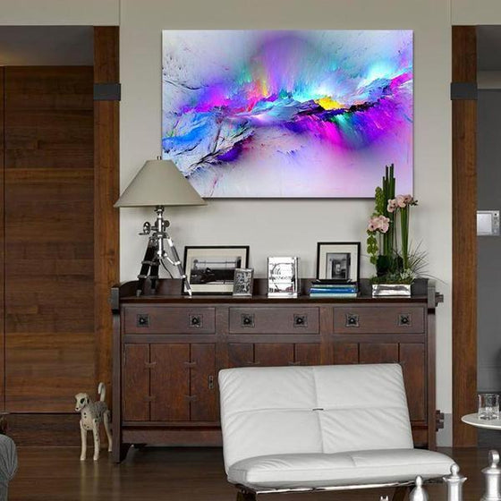 Bright Colorful Abstract Canvas Wall Art Dining Room