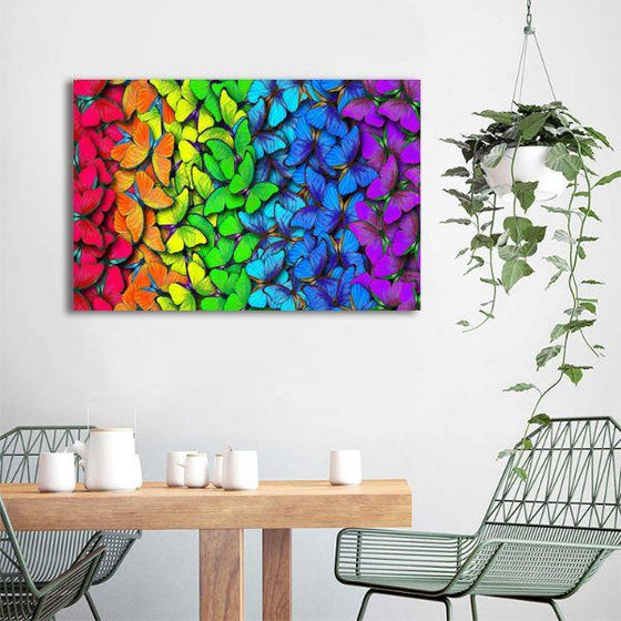 18 Captivating Mediterranean Bedroom Designs You Won T: Bright Colorful Butterflies Animal Canvas Wall Art