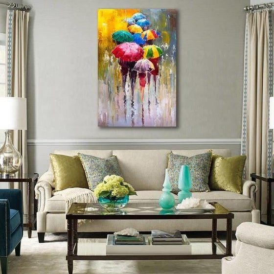 Bright Colorful Umbrellas Canvas Wall Art Decor