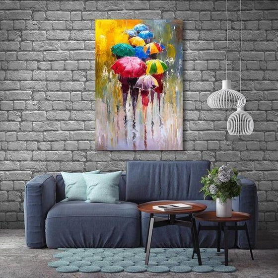 Bright Colorful Umbrellas Canvas Wall Art Ideas