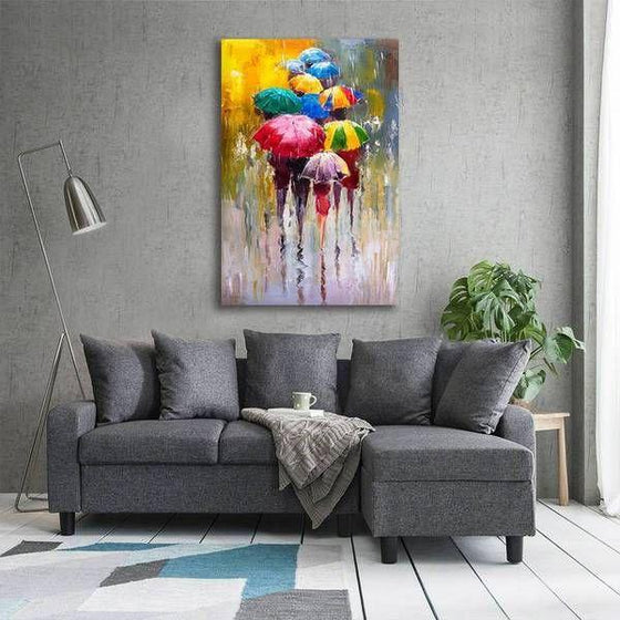 Bright Colorful Umbrellas Canvas Wall Art Living Room
