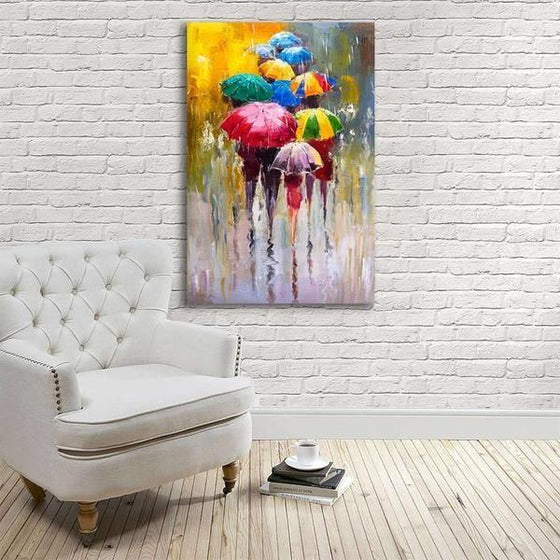 Bright Colorful Umbrellas Canvas Wall Art Print