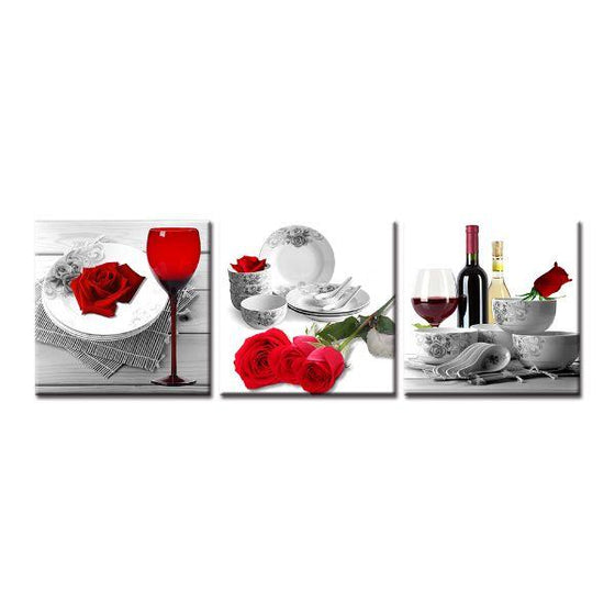 Bright Red Roses Canvas Wall Art Prints