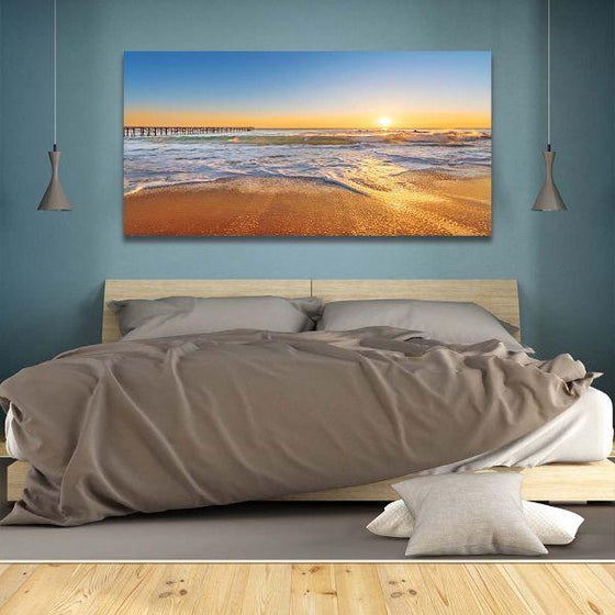 Bright Sunny Beach View Canvas Wall Art Bedroom