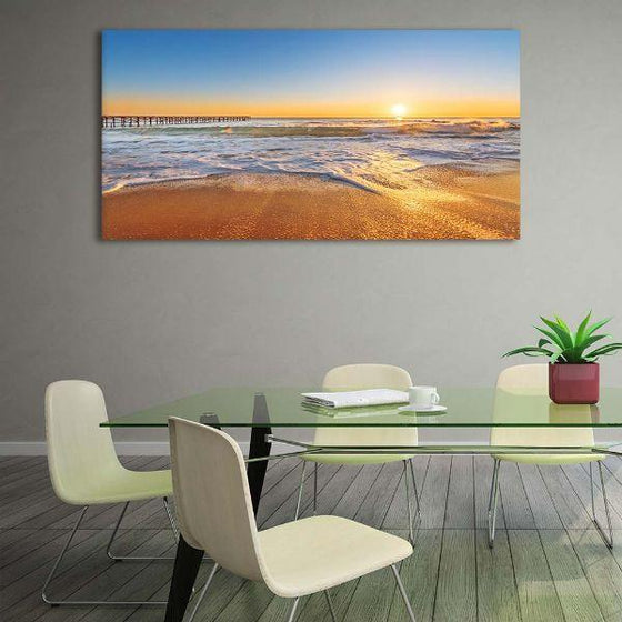 Bright Sunny Beach View Canvas Wall Art Dining Room
