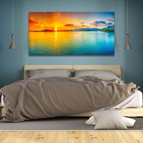 Bright Sunrise Sea View Canvas Wall Art Bedroom