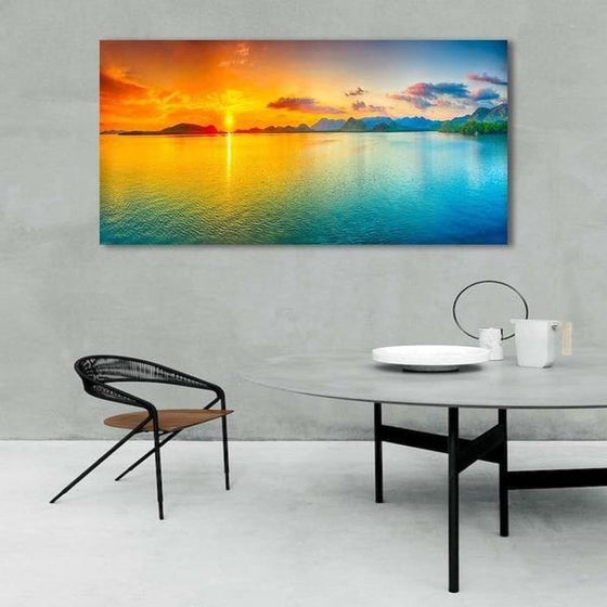 Bright Sunrise Sea View Canvas Wall Art Decor