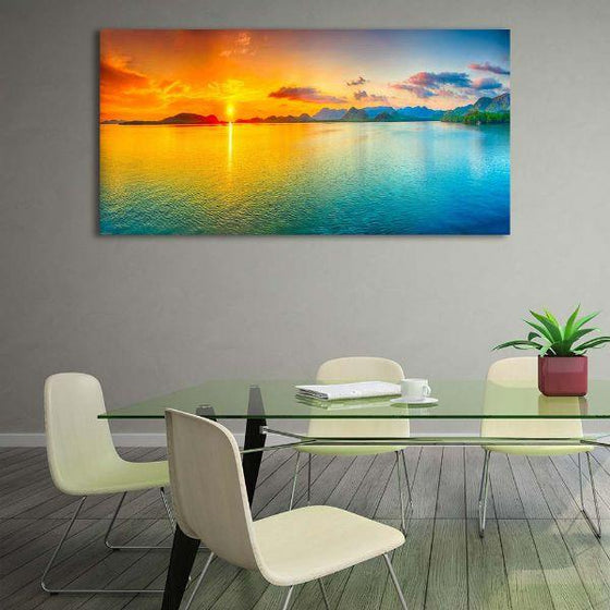 Bright Sunrise Sea View Canvas Wall Art Dining Room
