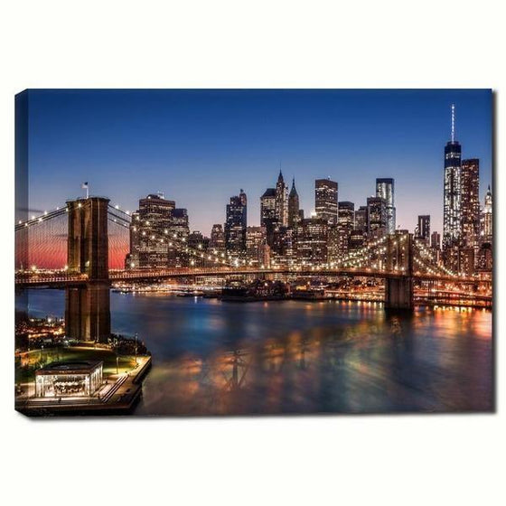 Brooklyn Bridge Night View Wall Art Canvas