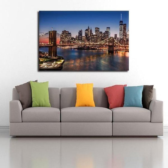 Brooklyn Bridge Night View Wall Art Ideas