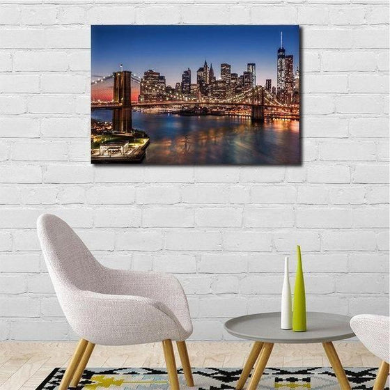 Brooklyn Bridge Night View Wall Art Print