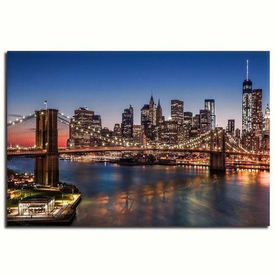Brooklyn Bridge Night View Wall Art